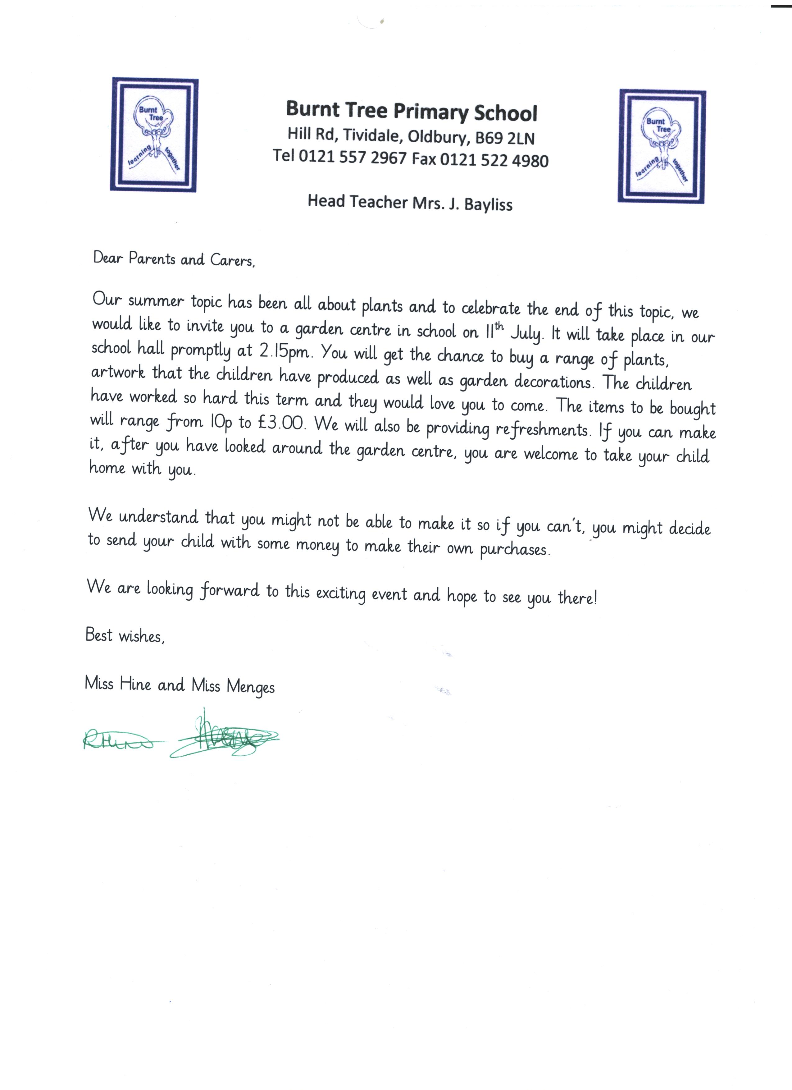 Year 1 Plant Sale Letter Burnt Tree Primary School